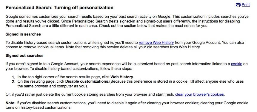 Turning Off Personalized Search