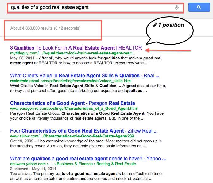 search results real estate agent qualities